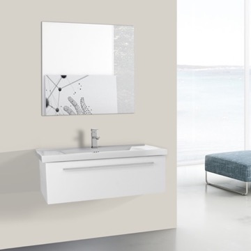 36 Inch Glossy White Wall Bathroom Vanity Set, 1 Drawer, Mirror Included