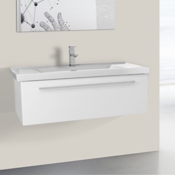 36 Inch Glossy White Wall Bathroom Vanity Set, 1 Drawer
