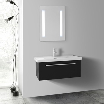 28 Inch Glossy Black Wall Bathroom Vanity Set, 1 Drawer, Lighted Mirror Included