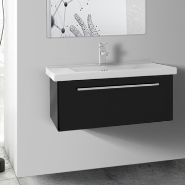 28 Inch Glossy Black Wall Bathroom Vanity Set, 1 Drawer