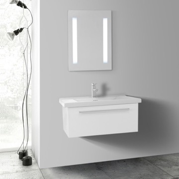 28 Inch Glossy White Wall Bathroom Vanity Set, 1 Drawer, Lighted Mirror Included