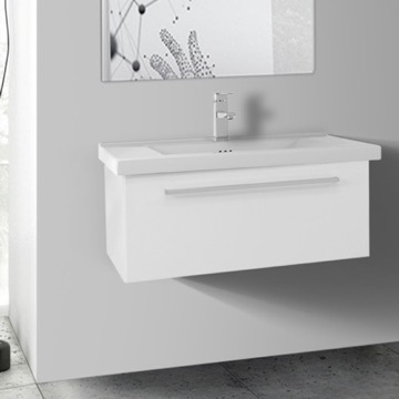 28 Inch Glossy White Wall Bathroom Vanity Set, 1 Drawer