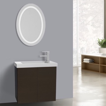 23 Inch Wenge Bathroom Vanity, Wall Mounted, Lighted Mirror Included