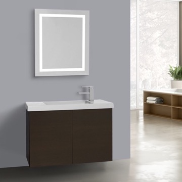31 Inch Wenge Bathroom Vanity, Wall Mounted, Lighted Mirror Included