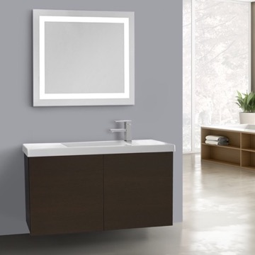 39 Inch Wenge Bathroom Vanity, Wall Mounted, Lighted Mirror Included