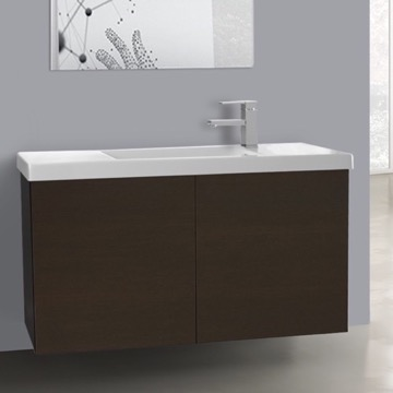39 Inch Wenge Bathroom Vanity with Ceramic Sink