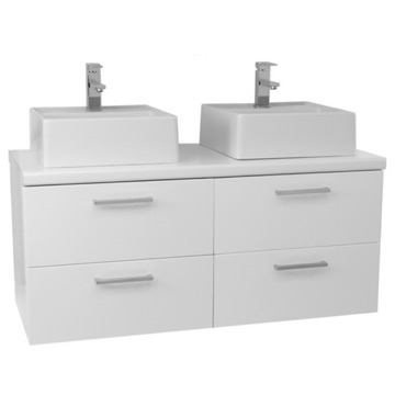 45 Inch Glossy White Double Vessel Sink Bathroom Vanity, Wall Mounted