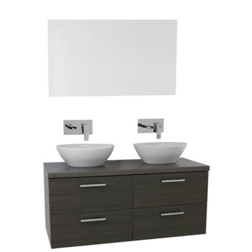 45 Inch Grey Oak Double Vessel Sink Bathroom Vanity, Wall Mounted, Mirror Included