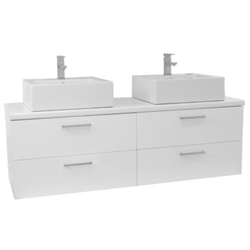 61 Inch Glossy White Double Vessel Sink Bathroom Vanity, Wall Mounted