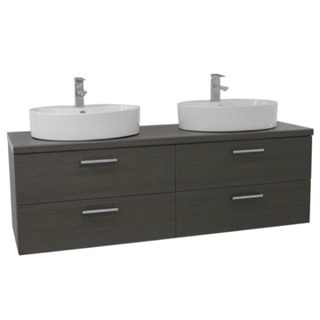 61 Inch Grey Oak Double Vessel Sink Bathroom Vanity, Wall Mounted