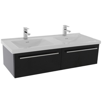48 Inch Glossy Black Wall Double Bathroom Vanity Set, 2 Drawers