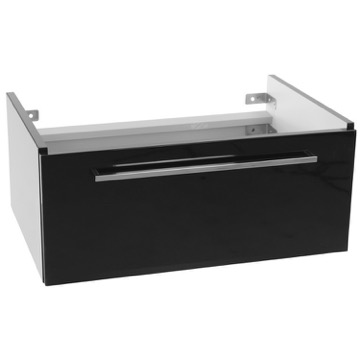 28 Inch Wall Mount Glossy Black Vanity Cabinet