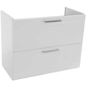 30 Inch Wall Mount Glossy White Vanity Cabinet