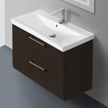 30 Inch Wenge Wall Mounted Vanity with Fitted Sink