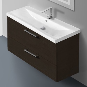 38 Inch Wenge Wall Mounted Vanity with Fitted Sink