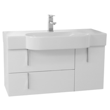 35 Inch Glossy White Wall Bathroom Vanity Set, Curved Ceramic Sink