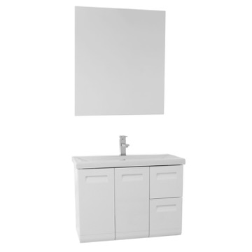 30 Inch Wall Mounted Glossy White Vanity with Inset Handles, Mirror Included