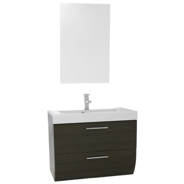 30 Inch Wall Mount Grey Oak Bathroom Vanity Set
