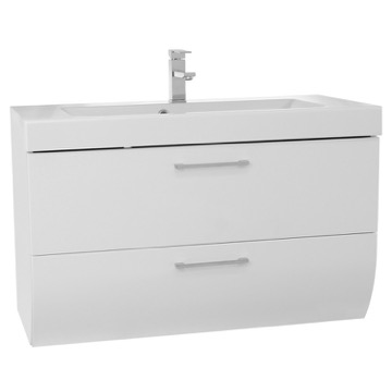 38 Inch Wall Mount Glossy White Bathroom Vanity Cabinet with Sink