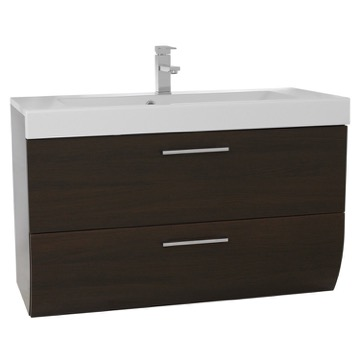 38 Inch Wall Mount Wenge Bathroom Vanity Cabinet with Sink