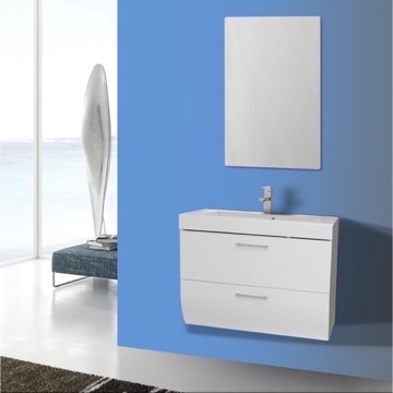 30 Inch Wall Mount Glossy White Bathroom Vanity Set