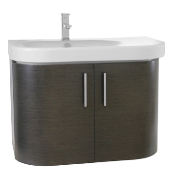 32 Inch Wall Mount Grey Oak Bathroom Vanity Set
