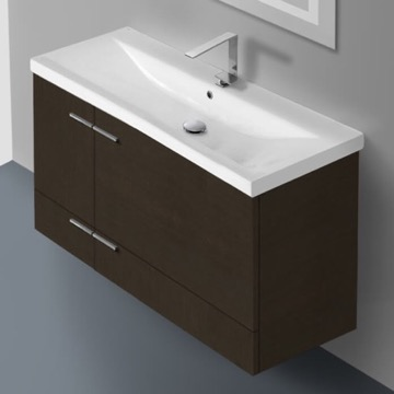 39 Inch Wenge Wall Mounted Vanity with Ceramic Sink