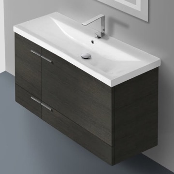 39 Inch Grey Oak Wall Mounted Vanity with Ceramic Sink