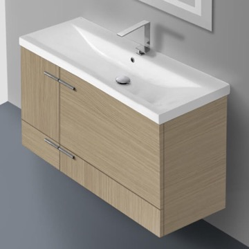 39 Inch Natural Oak Wall Mounted Vanity with Ceramic Sink