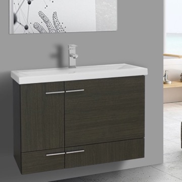 32 Inch Grey Oak Wall Mounted Vanity with Ceramic Sink