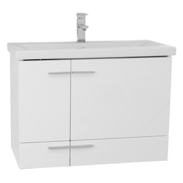 32 Inch Glossy White Wall Mounted Vanity with Ceramic Sink