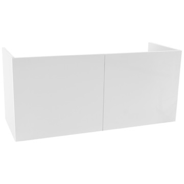 47 Inch Wall Mount Glossy White Bathroom Vanity Cabinet