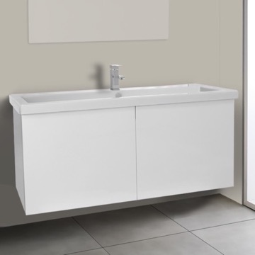 47 Inch Glossy White Bathroom Vanity with Ceramic Sink
