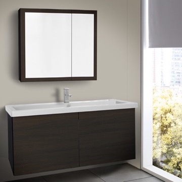 47 Inch Wenge Bathroom Vanity with Ceramic Sink, Medicine Cabinet Included