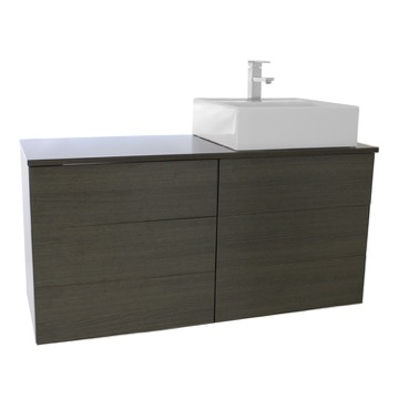 47 Inch Grey Oak Vessel Sink Bathroom Vanity, Wall Mounted
