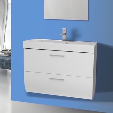 30 Inch Wall Mount Glossy White Bathroom Vanity Cabinet with Sink