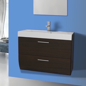 30 Inch Wall Mount Wenge Bathroom Vanity Cabinet with Sink