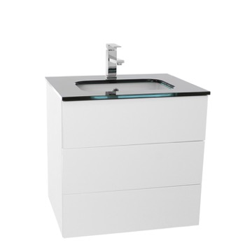 24 Inch Glossy White Bathroom Vanity with Black Glass Top, Wall Mounted