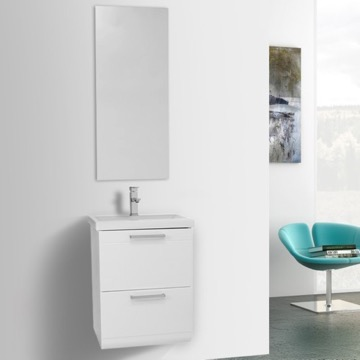 19 Inch Small Glossy White Wall Mounted Bathroom Vanity With Fitted Sink,  Mirror Included