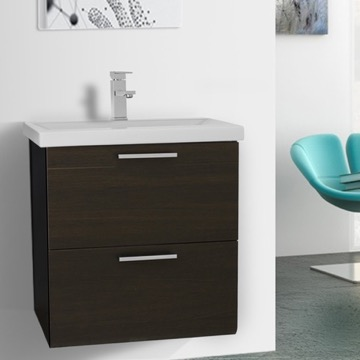 23 Inch Wenge Wall Mounted Vanity with Fitted Sink