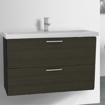 38 Inch Grey Oak Wall Mount Bathroom Vanity Set