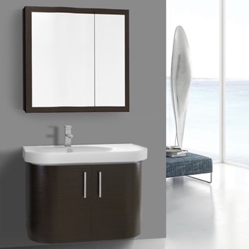 34 Inch Curved Wenge Wall Bathroom Vanity with Fitted Sink, 2 Doors, Medicine Cabinet Included