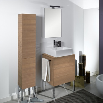 Bathroom Vanity Unique Vanity Set with Sink, Mirror and Wood Top NT8 Iotti NT8