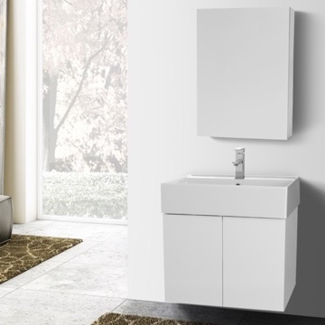 23 Inch Glossy White Bathroom Vanity with Ceramic Sink, Medicine Cabinet Included