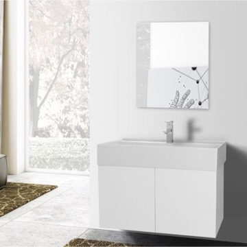 31 Inch Glossy White Bathroom Vanity with Ceramic Sink, Mirror Included