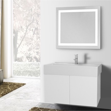 31 Inch Glossy White Bathroom Vanity, Wall Mounted, Lighted Mirror Included