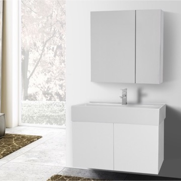 31 Inch Glossy White Bathroom Vanity with Ceramic Sink, Medicine Cabinet Included