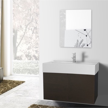 31 Inch Wenge Bathroom Vanity with Ceramic Sink, Mirror Included