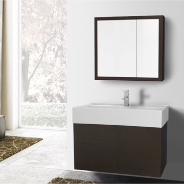 31 Inch Wenge Bathroom Vanity with Ceramic Sink, Medicine Cabinet Included