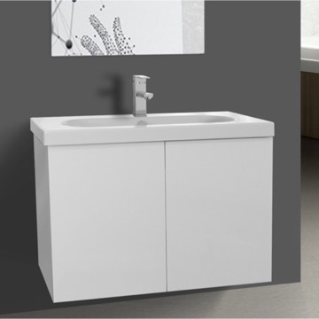 31 Inch Glossy White Bathroom Vanity with Ceramic Sink